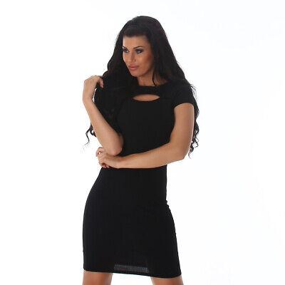 Sexy Kleid Minikleid kurzarm mit Cut Out Schlüsselloch Schwarz Größe 38 - Sexy Schwarze Schlüsselloch