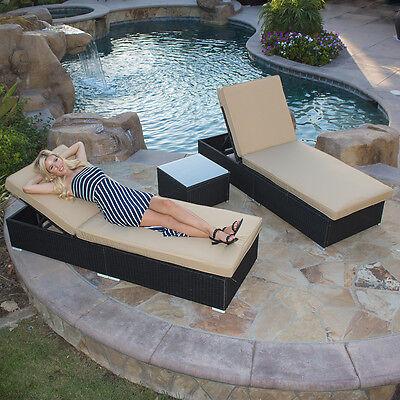 Wicker Rattan Sofa Lounge Chaise Chair Set Patio Furniture Wicker 3Pcs, Black