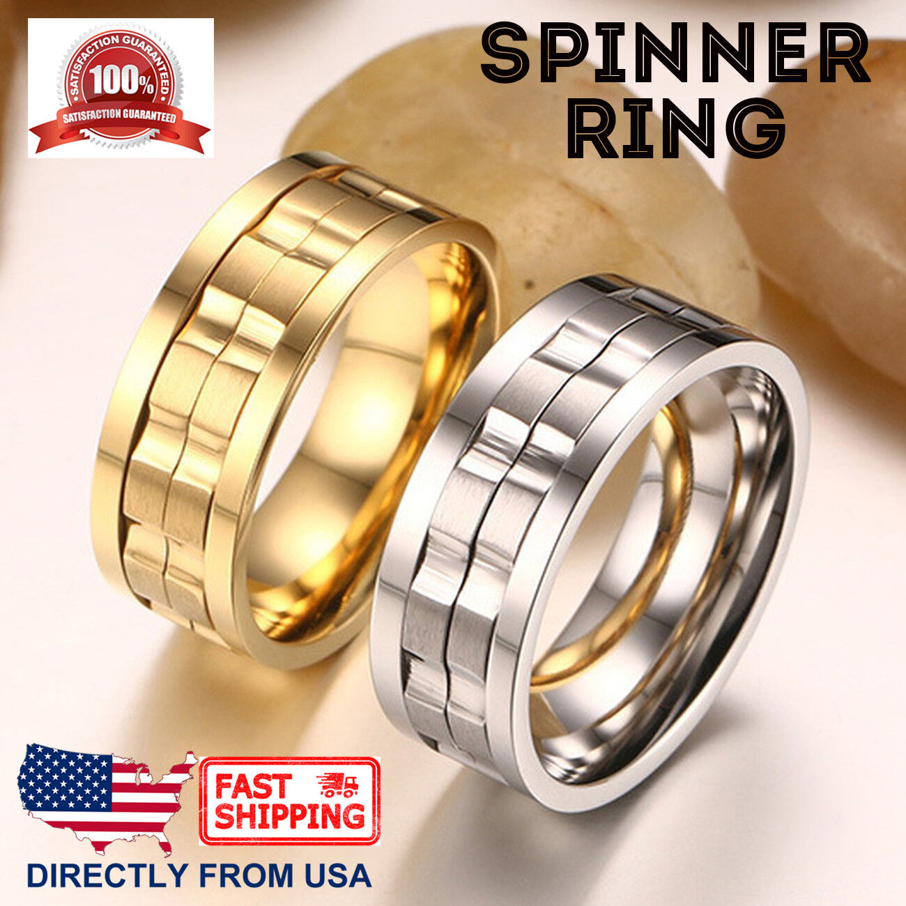 Men's Stainless Steel Anxiety Spinner Ring 9mm Wedding Band, Comfort Fit Jewelry & Watches