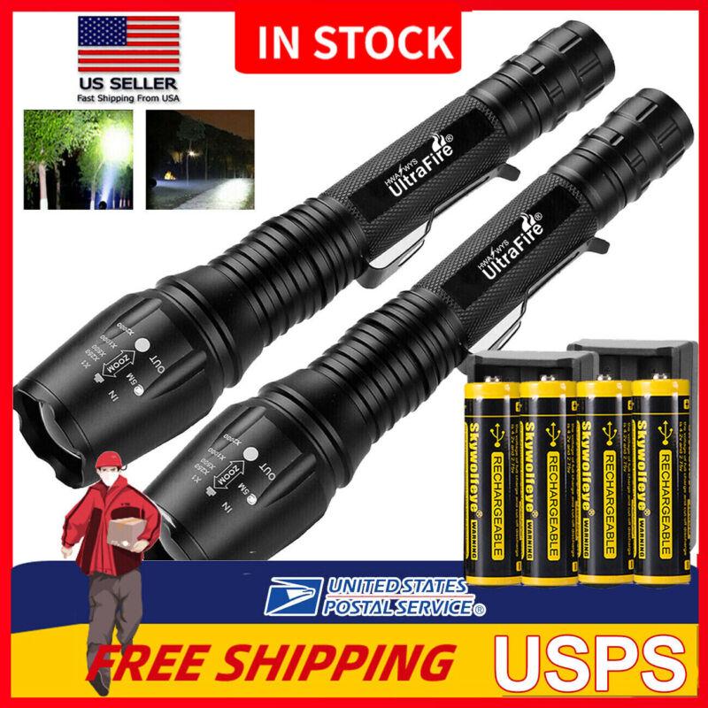 Tactical Police High 350000 Lumens 5 Modes Power  LED Flashl