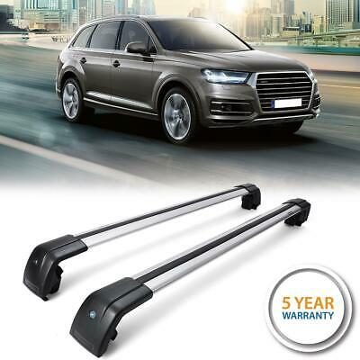 Pair Aluminum Roof Rack Cross Bar Cargo Carrier Rails for Au-di Q3 2013-2017 3 Bar Cross