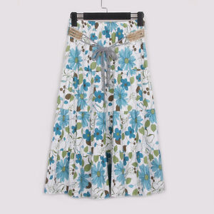 Ladies BOHO Floral Printed Pleated Skirt Knee-Length Elastic Waist Linen Skirt