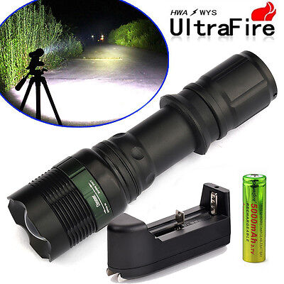 2x8000Lumen Tactical T6 LED Flashlight Torch Rechargeable 18650 Battery&Charger