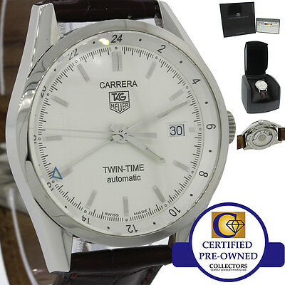 Tag Heuer Carrera Twin Time Calibre 7 WV2116 Automatic Silver Date Watch B&P