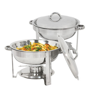 2 Pack Catering Stainless Steel Chafer Chafing Dish Sets 5 Qt Party Pack