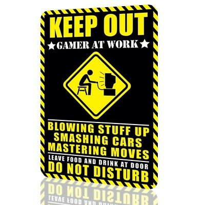 Metal Sign Humor KEEP OUT Gamer at Work DO NOT DISTURB Video Game Arcade Decor