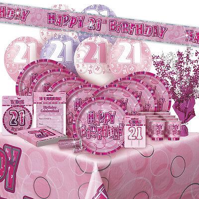 Alter 21/21st Birthday Rosa Glitz Party Ballon Dekoration/Banner Servietten)