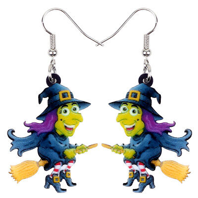 Acrylic Halloween Magical Witch Earrings Drop Dangle Cartoon Jewelry For