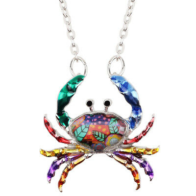 Enamel Alloy Sea Crab Necklace Zodiac Pendant Collar Jewelry For Women kid -