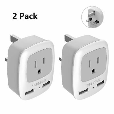 USA to UK Ireland Travel Power Plug Adapter with 1 AC Outlet & 2 USB - Ireland Power Outlet