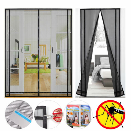 2pc Magnetic Screen Door Mesh Curtain with Heavy Duty Fiberg