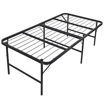 "Foldable Platform Bed Frame and Mattress Foundation 17"" inch Bi-Fold, Twin Size"