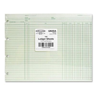 Wilson Jones Regular Ledger Sheets - 9.25 X 11.87 Sheet Size - Green - Gn2d