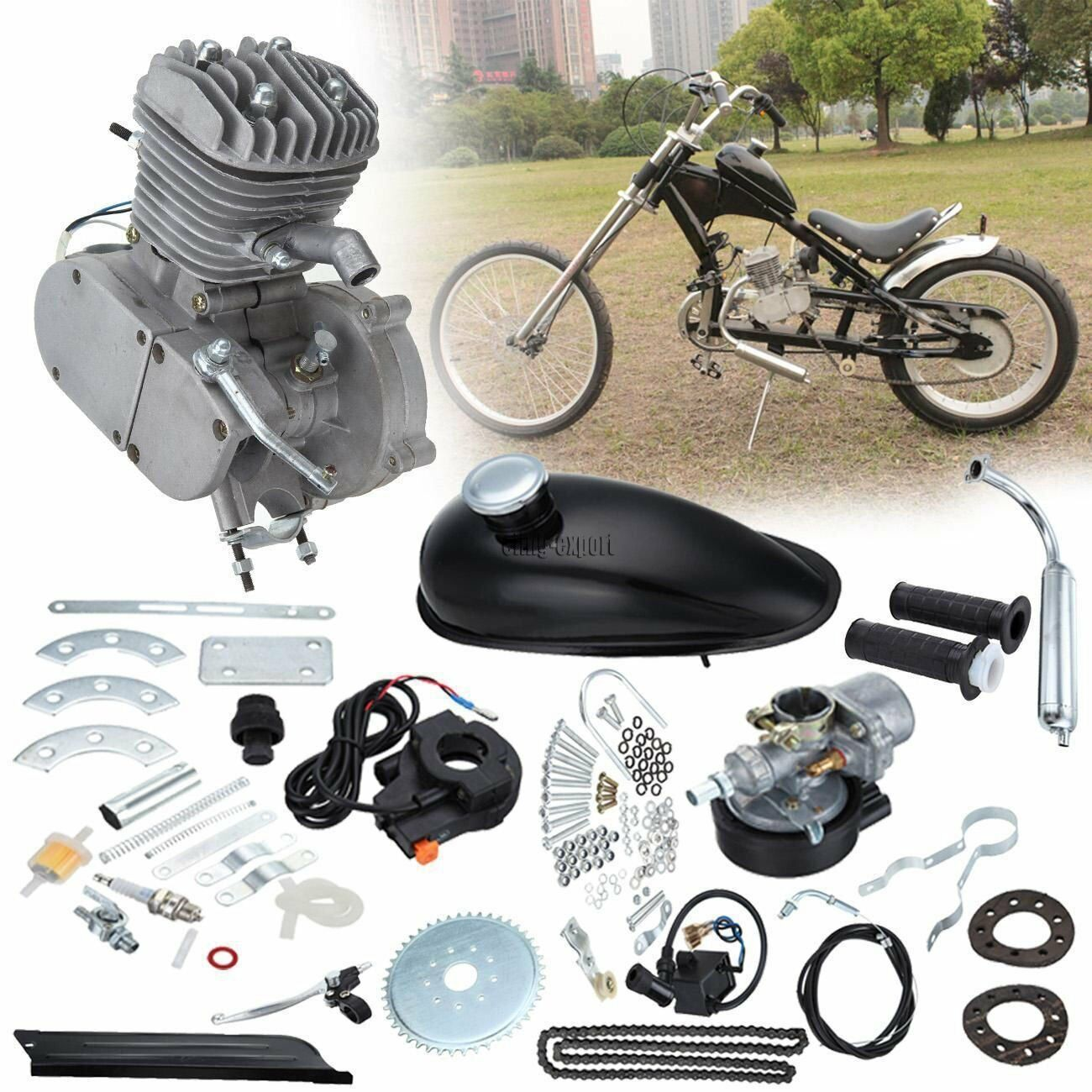 de9b9b71136 Details about 80cc 2-Stroke Motor Engine Kit Gas for Motorized Bicycle Bike  Chrome Pipe Set