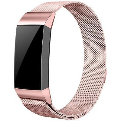 Für Fitbit Charge 3 Milanese Band Edelstahlband Smartwatch Magnet Armbänder S