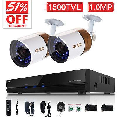 ELEC® Outdoor Home Wired Security Camera System 1500TVL 4CH 960H HDMI CCTV DVR
