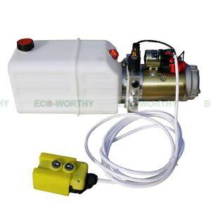 New Single Acting Hydraulic Pump DC 12V Dump Trailer - 6 Quart 3200 PSI Max.