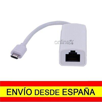 Adaptador Conversor Micro USB Macho a Ethernet RJ45 Tarjeta Red LAN 100Mb...