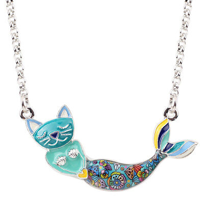 Enamel Alloy Mermaid Cat Necklace Pendant Collar Chain Fish Jewelry For Women - Enamel Fish Pendant