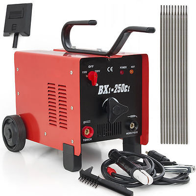 250 Amp Arc Welder Mig 110 220 Dual Voltage Ac Welding Machine With Face Mask
