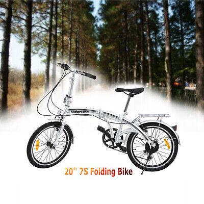 Ridgeyard 20 Pulgadas Bicicleta Plegable de Acero al Carbono 7 Velocidades Plata