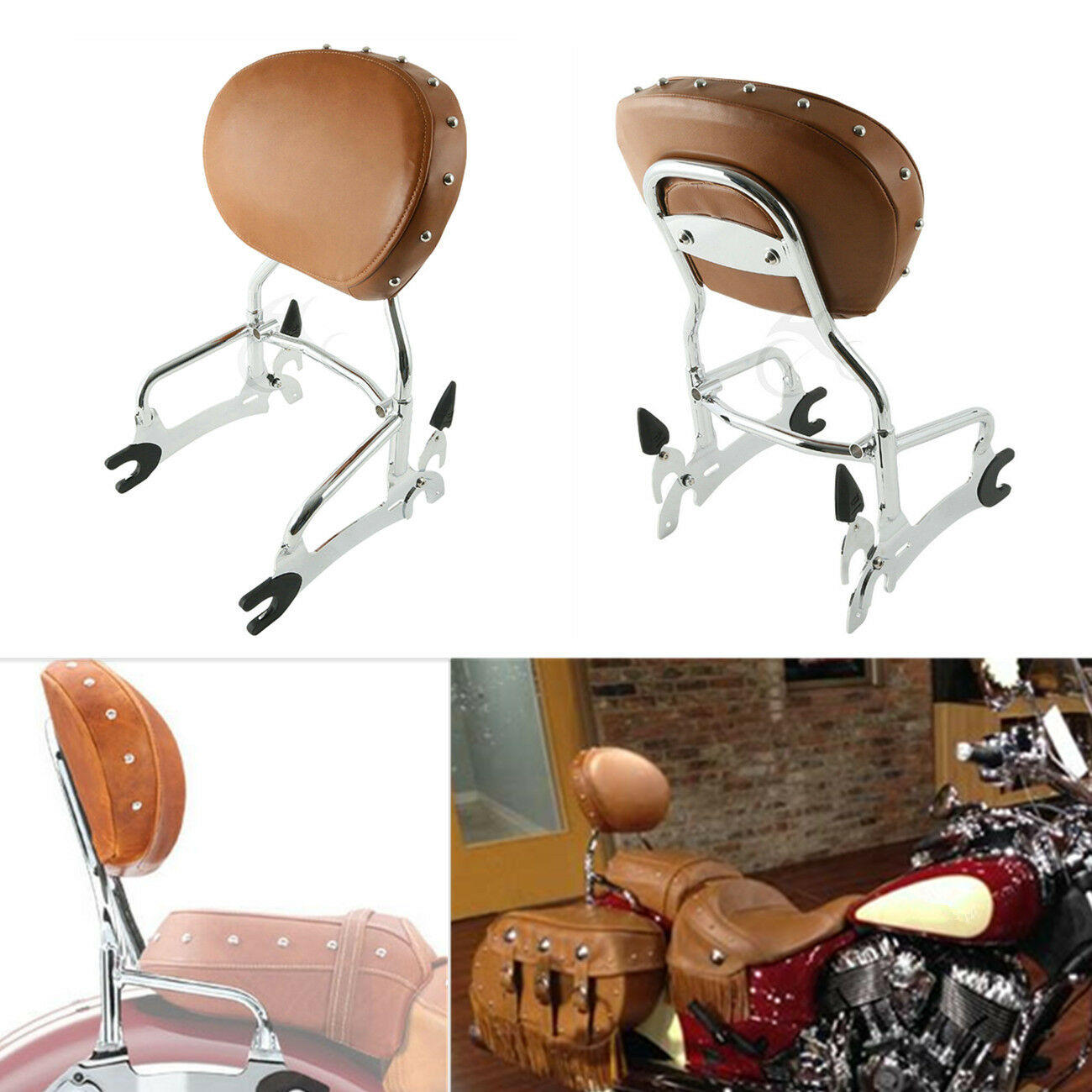 Rear Passenger Backrest Sissy Bar Pad For Indian Chief Classic Vintage 2014-2018