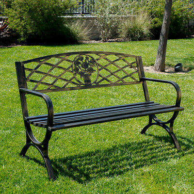 Garden Furniture - Outdoor Bench Patio Chair Metal Garden Furniture Deck Backyard Park Porch Seat