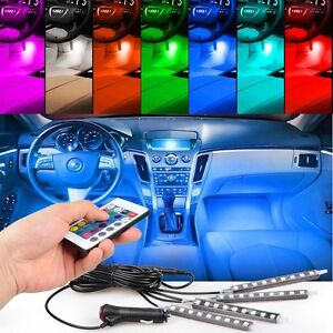 4en1 led rgb lampe voiture int rieur allume cigare 12v. Black Bedroom Furniture Sets. Home Design Ideas