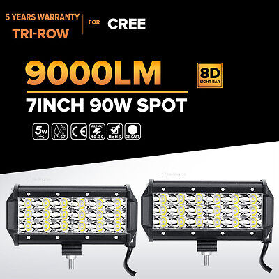 Tri-Row 7Inch 90W Cree Led Work Light Bar SPOT Offroad Driving 4WD Truck ATV UTE