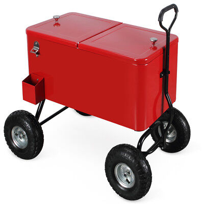 80 Qt Rolling Cold Drink Wagon Cooler w/ Built-In Bottle Opener and Catch Tray