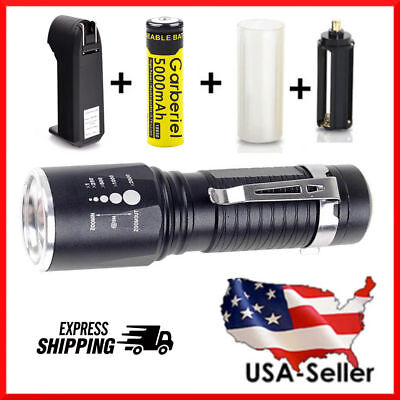 15000Lumens Super Bright T6 LED Tactical Flashlight Military Grade Torch Camping