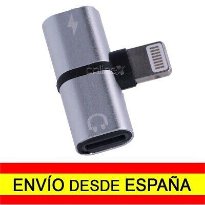 Adaptador 8 Pin Compatible iPhone Carga y Audio Auriculares Simultaneos a1402