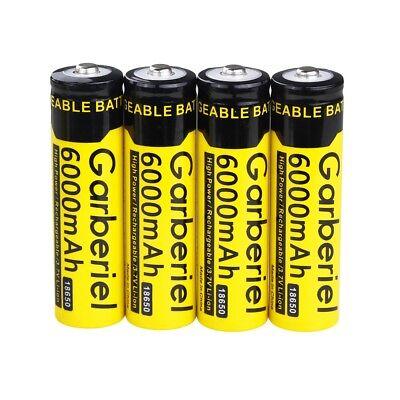 4pcs Garberiel 18650 Battery 6000mAh Li-ion 3.7V Lithium Rechargeable Batteries