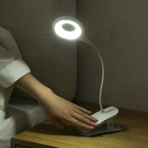 USB Rechargeable Portable LED Light Flexible Clip-On Bed Des