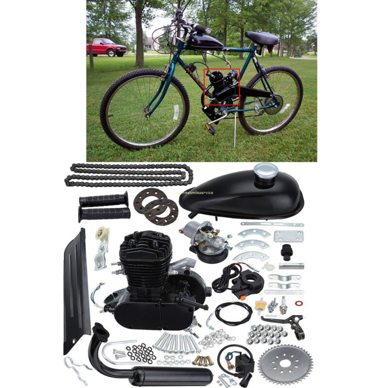 Black 50cc 2-Stroke Cycle Motor Muffler Motorized Bicycle Bike Engine Gas Kit