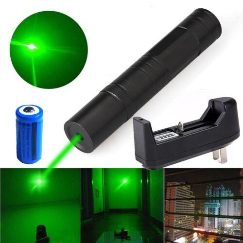 US 30Miles Mini Green Laser Pointer Pen 532nm Beam Light 16340 Battery+Charger