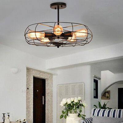 5 Lights Industrial Vintage Semi Mount Ceiling Light Metal Hanging Fixture Lamp