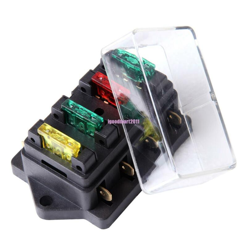 12V/24V Fuse Holder Box Block 4 Way Car Vehice Circuit Automotive + 4 Blade
