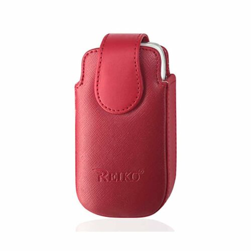 Red Leather Case Vertical fits all LG Revere flip phones