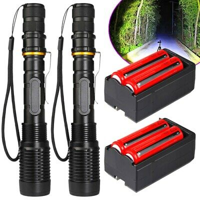 Tactical Police 200000Lumens T6 LED 5Modes 18650 Flashlight Aluminum Focus