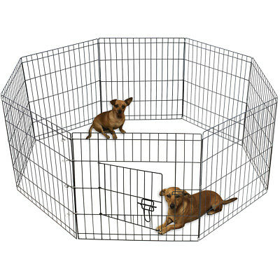 "24"" Tall Wire Fence Pet Dog Folding Exercise Yard 8 Panel Metal Playpen"