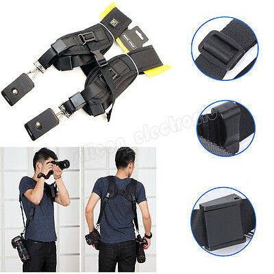 Double Dual Shoulder Sling Belt Strap for 2/Two DSLR Quick Rapid Digital Cameras
