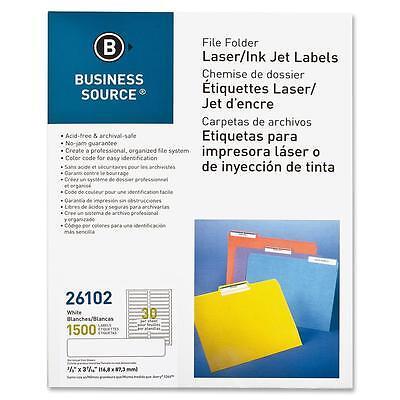 """Business Source File Folder Labels Laser/Inkjet 2/3""""x3-7/16"""" 1500/PK White 26102"""