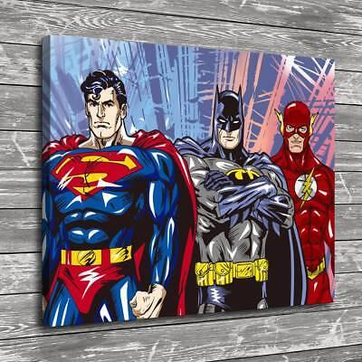 Superman Batman Flash Home Decor Room HD Canvas Print Picture Wall Art (Superman Picture)