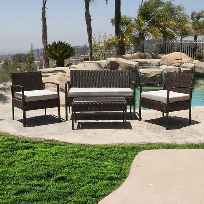 4 Piece Patio Outdoor Rattan Set 4 PC Furniture: 2 Chairs 1 Glass Table 1 Sofa