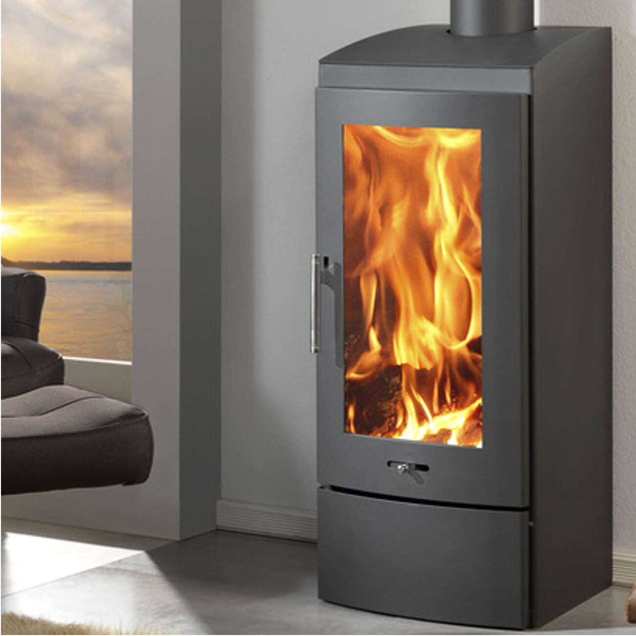 Baltic Stove 10kw Rectangular Shaped Tall Contemporary Wood ...