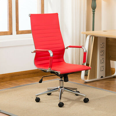 Red Modern High-back Ribbed Upholstered Pu Leather Executive Office Chair Desk