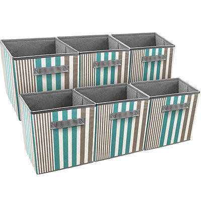 Sorbus Foldable Storage Cube Basket Bin, 6 Pack, Vertical Stripe Pattern (Aqua) - Storage Cube Baskets