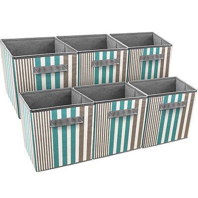 Sorbus Foldable Storage Cube Basket Bin, 6 Pack, Vertical Stripe Pattern (Aqua)](Cube Storage Baskets)
