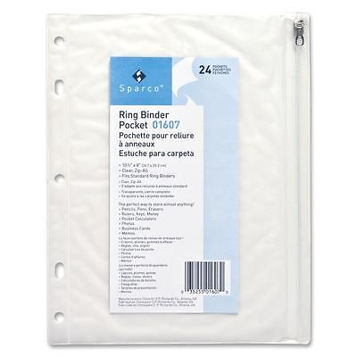 Sparco Ring Binder Pocket W Zipper Vinyl Hole Punched 10x8 Cl 01607